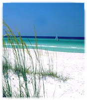 Sugar-white sand beach in Destin, Florida